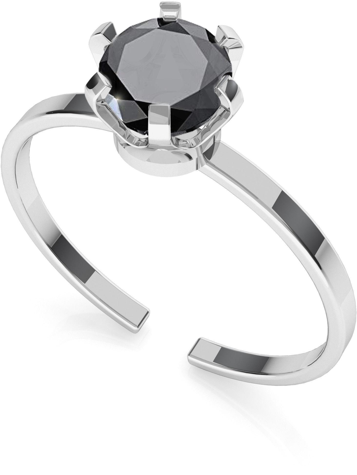 Srebrny pierścionek z diamentem 6mm My RING, srebro 925 : Srebro - kolor pokrycia - Pokrycie platyną