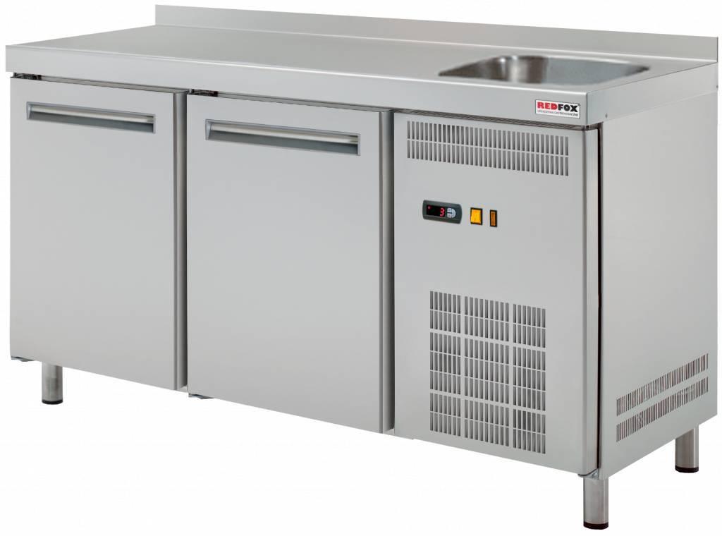 Stół chłodniczy dwudrzwiowy ze zlewem 0 C/+8 C 290L 1350x700x(H)850mm