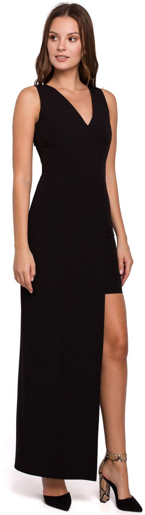 K026 Sukienka długa asymetryczna - czarna