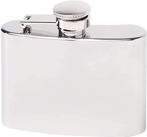 Herbertz Męska butelka kieszonkowa ze stali nierdzewnej 118 ml piersiówka, srebrna
