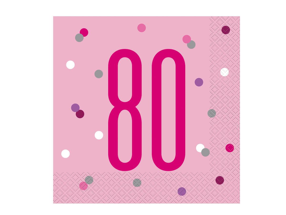 Serwetki różowe na osiemdziesiąte urodziny - 33 cm - 16 szt.