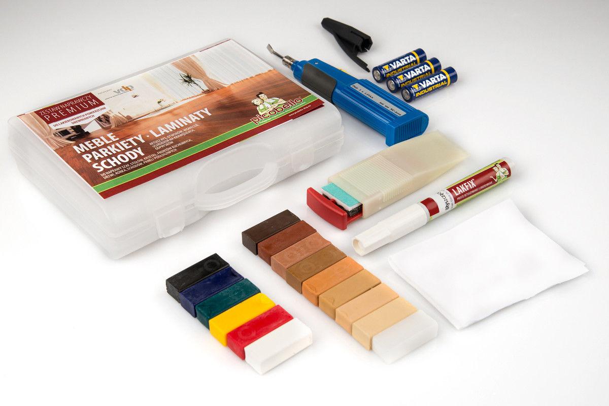 Zestaw naprawczy PREMIUM do lakierowanych powierzchni drewnianych, zawiera lakier zabezpieczający