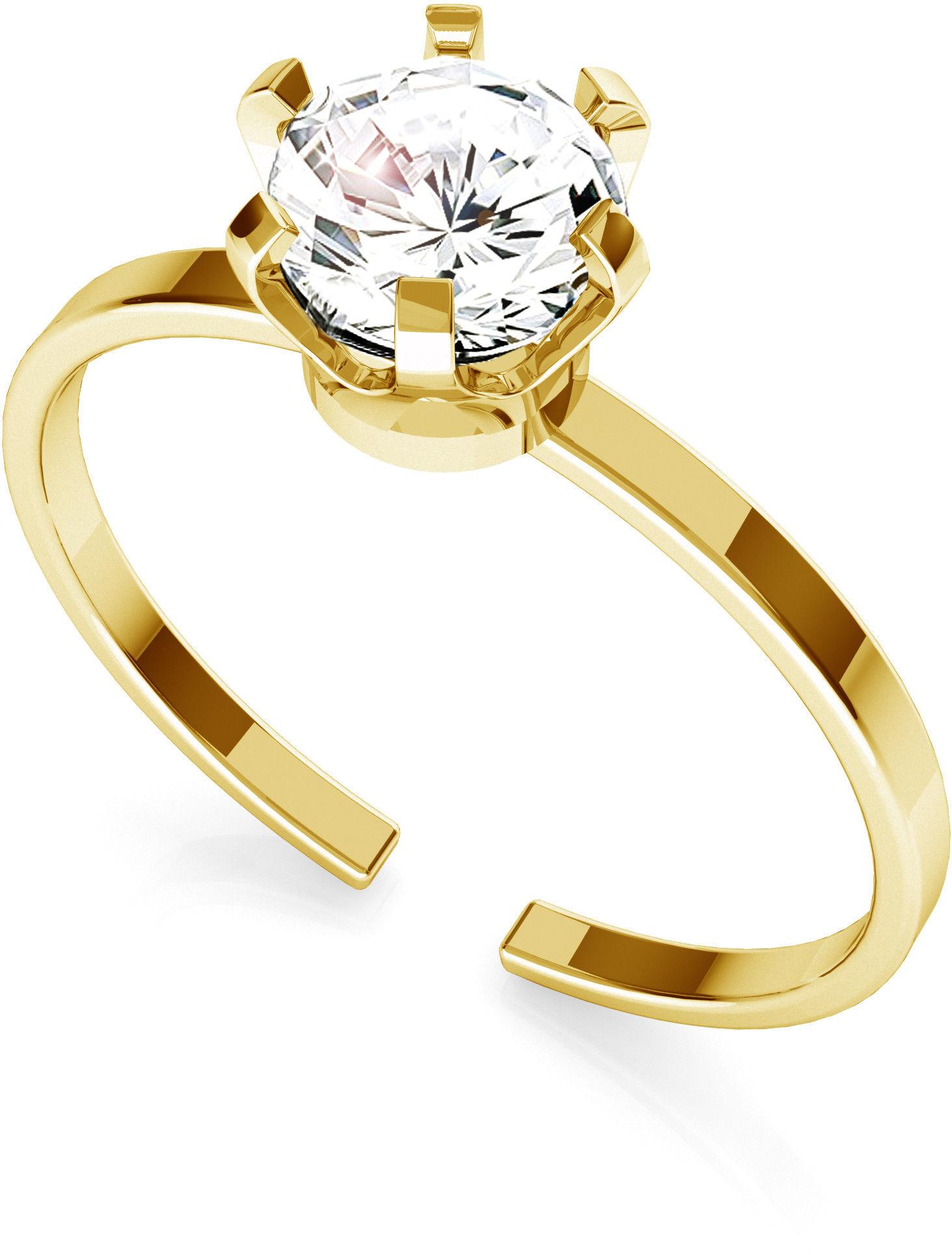 Srebrny pierścionek z cyrkonią 6mm My RING, srebro 925 : Srebro - kolor pokrycia - Pokrycie żółtym 18K złotem