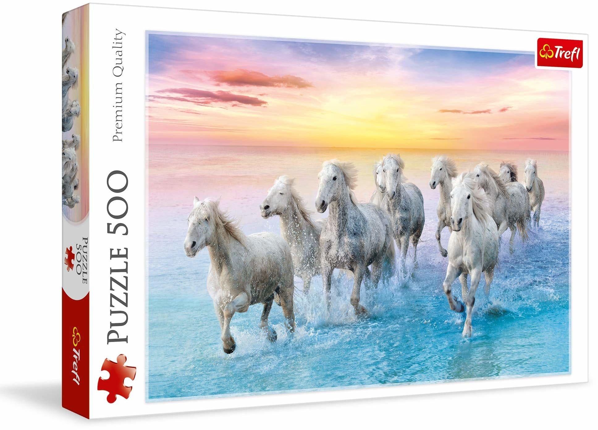 Trefl Białe konie w galopie Puzzle 500 Elementów o Wysokiej Jakości Nadruku dla Dorosłych i Dzieci od 10 lat