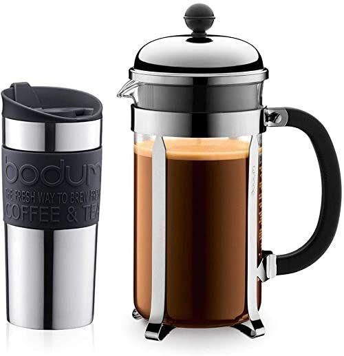 Bodum K11068-01 zestaw zaparzaczy do kawy Chambord 8 filiżanek i kubków podróżnych, 0,35 l, stal nierdzewna z silikonowym pierścieniem, czarny