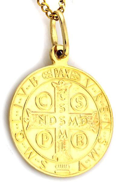 Złoty medalik585 koło krzyż Św. Benedykta