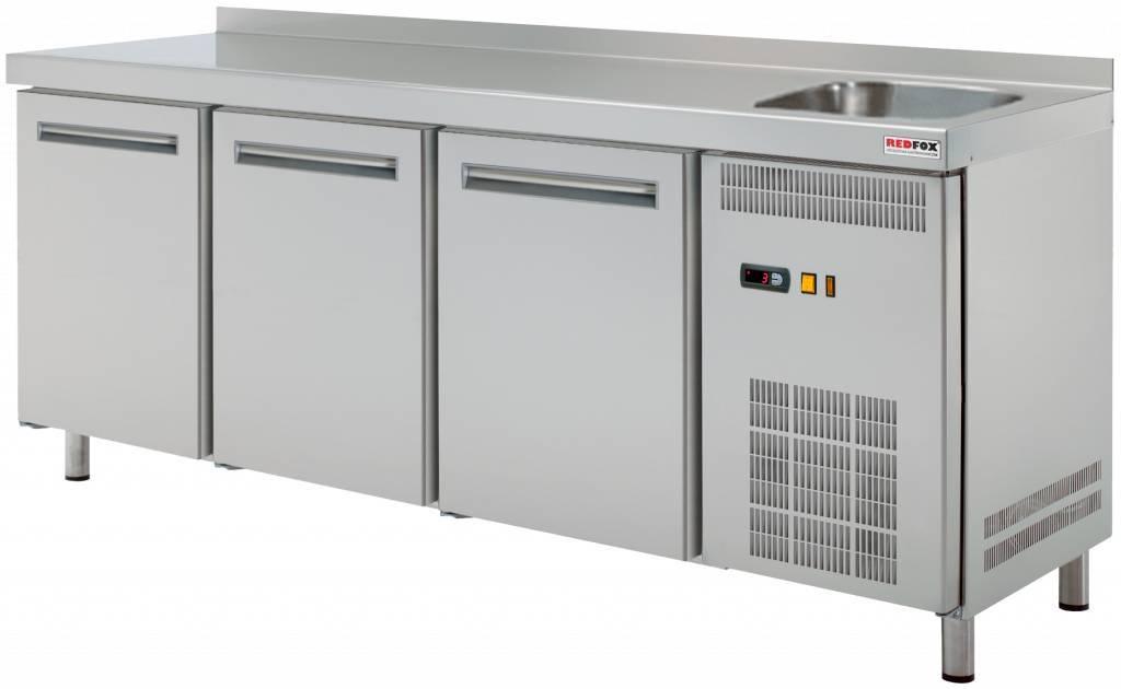 Stół chłodniczy trzydrzwiowy ze zlewem 0 C/+8 C 452L 1800x700x(H)850mm