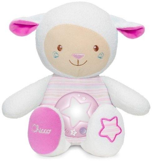Chicco zabawki 074365 owieczka z nocną lampką różowa
