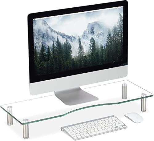 Relaxdays Szklany stojak na telewizor, podstawka pod notebook, z regulacją wysokości 9 - 11 cm, szer. x głęb.: 70 x 24 cm, przezroczysty