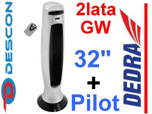 """Wentylator wieżowy stojący srebrny z pilotem 32"""" DESCON DA-3201TW"""