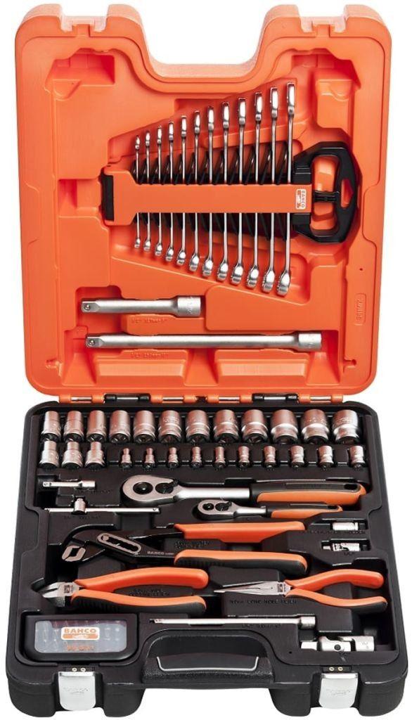 """zestaw narzędzi, kluczy nasadowych 1/4"""" i 1/2'', bitów i kluczy płasko-oczkowych 81szt. BAHCO [S81MIX]"""