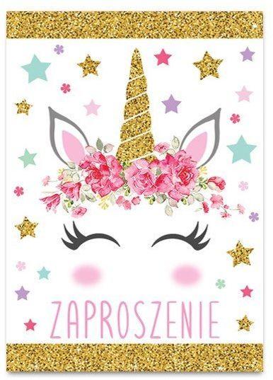 Zaproszenie na urodziny Jednorożec brokatowe 1szt ZB6826