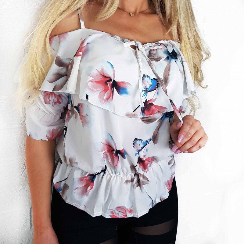 Bluzka damska biała kwiaty luźna BS0014656