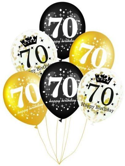 Balony na 70 urodziny 6 sztuk 400157