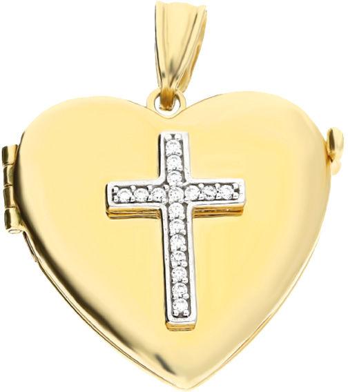 Złota przywieszka 585 puzderko serce z krzyżem