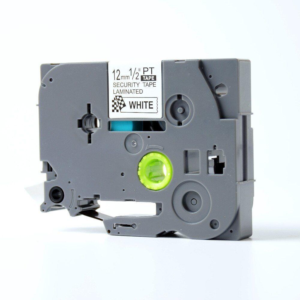 Brother TZ-SE3 / TZe-SE3, 12mm x 8m, czarny druk / biały podkład, bezpieczeństwo, taśma zamiennik