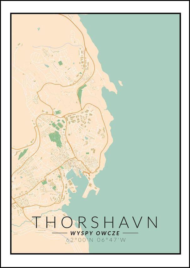 Thorshavn mapa kolorowa - plakat wymiar do wyboru: 40x60 cm