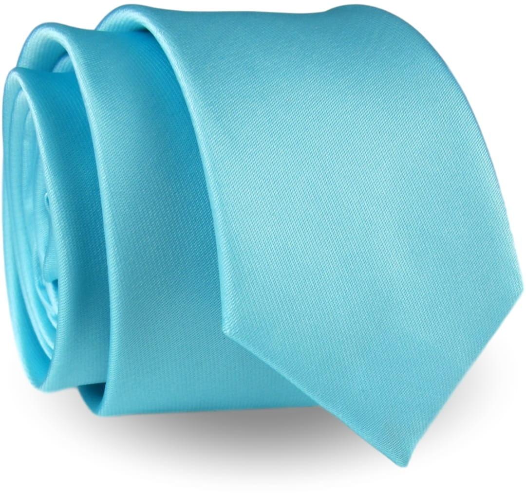 Krawat Męski Elegancki Modny Śledź wąski gładki miętowy jasny błękitny G290