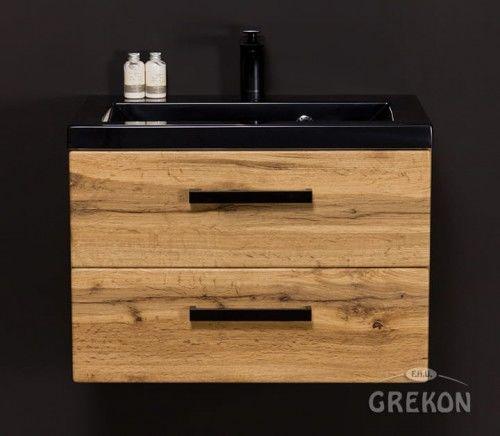 Szafka łazienkowa kolor dąb 60cm z umywalką dolomitową, Styl Loftowy, Gante Fokus Loft