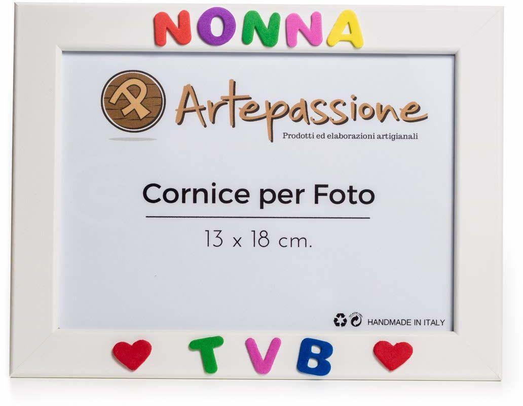 Artepassion ramka na zdjęcia z drewna z napisem Tvb i ozdobiona sercami, biała, 13 x 18 cm