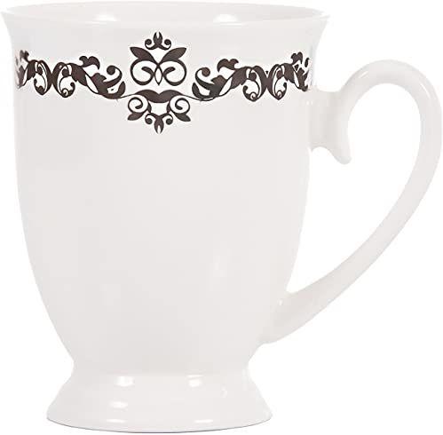 Dajar Kubek do kawy Diana style 10 300 ml AMBITION, porcelana, biało-szara, 12 x 8,5 x 10,5 cm