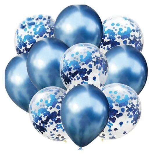Zestaw balonów niebieski chrom i konfetti 30cm 10 sztuk 400413