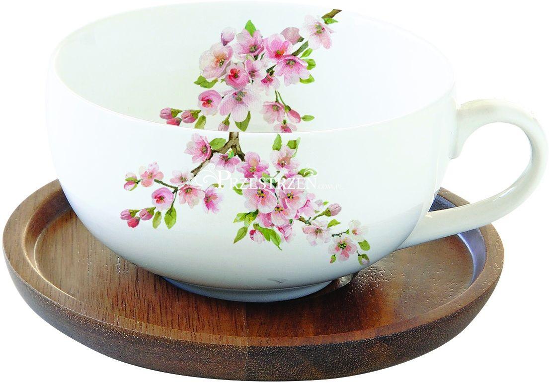 PORCELANOWA FILIŻANKA na DREWNIANYM SPODKU Sakura - Kwitnąca Wiśnia (1082 SAKU)
