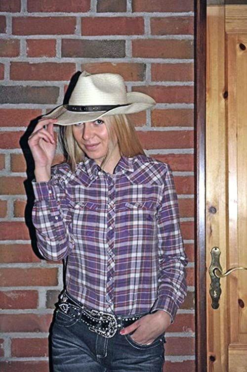 HKM Spodnie dla dorosłych z bluzką westernową, modne, 3573 karoS, 3573 liliowy/karo, S