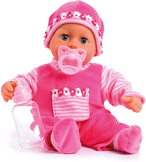 Bayer Design 93800-pink 93825AA lalka dla niemowląt First Words, oczy do spania, mówią 24 Babylaute, miękkie ciało, z smoczkiem i butelką, 38 cm, różowa