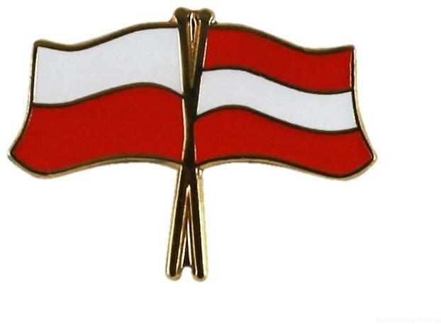 Flaga Polska - Austria, przypinka