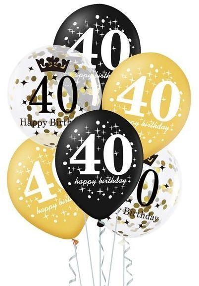 Balony na 40 urodziny 6 sztuk 400154