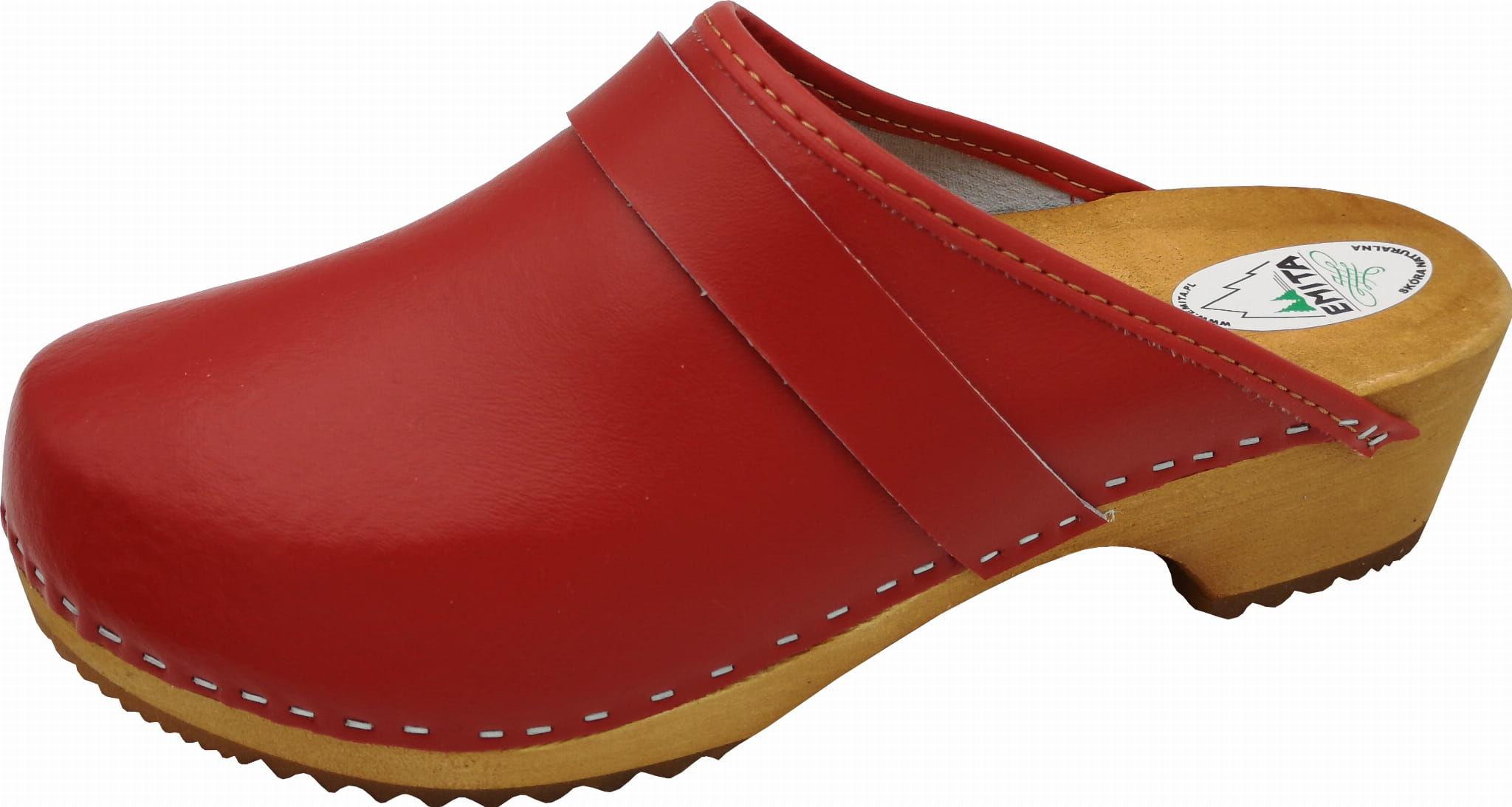 Chodaki czerwone women''s clogs