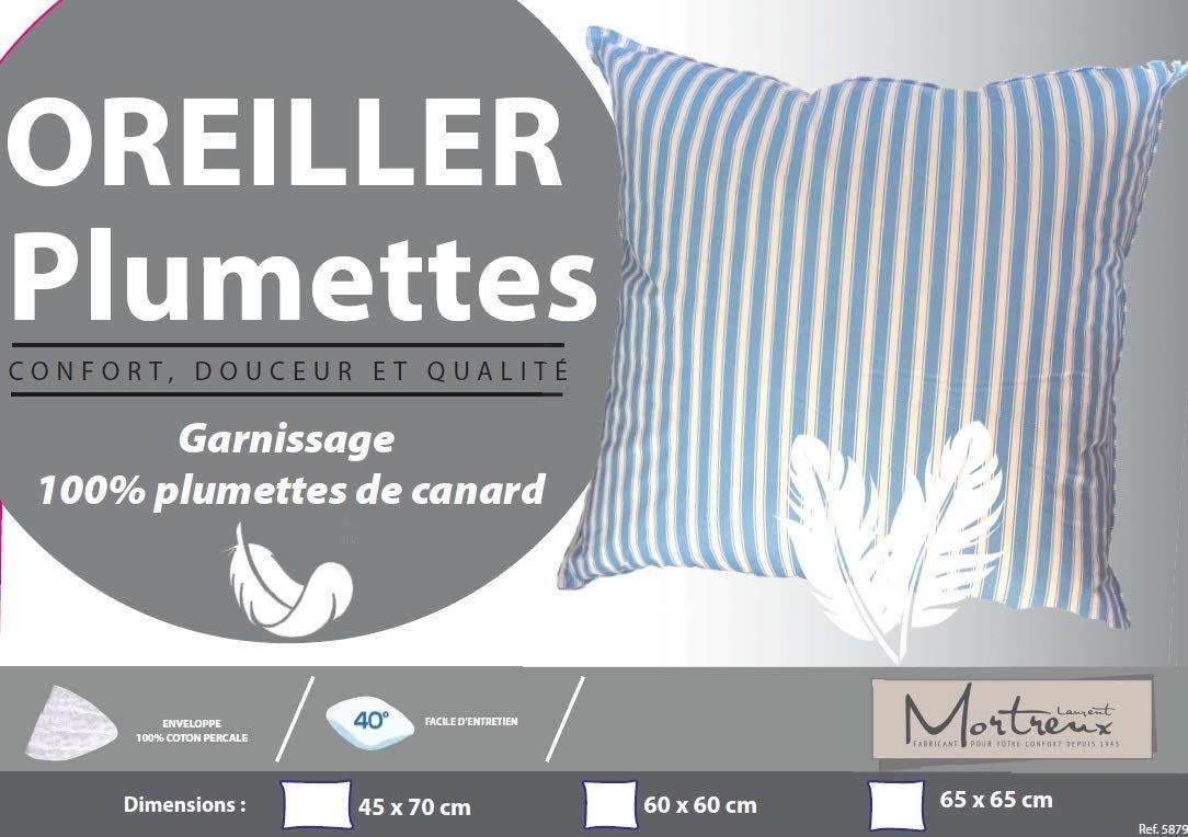 Laurentmortreux poduszka pod głowę, w paski, 60 x 60, biały/niebieski