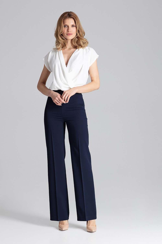 Granatowe szerokie spodnie w kant