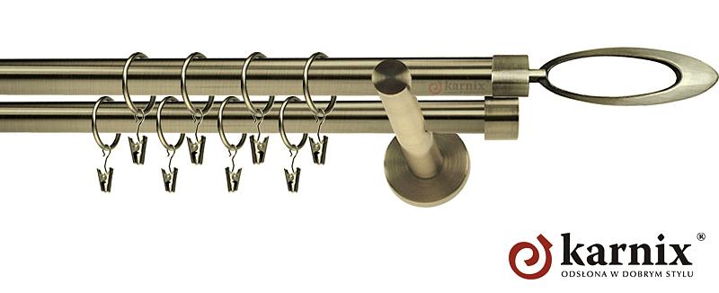 Karnisze nowoczesne NEO podwójny 19/19mm Mirella antyk mosiądz