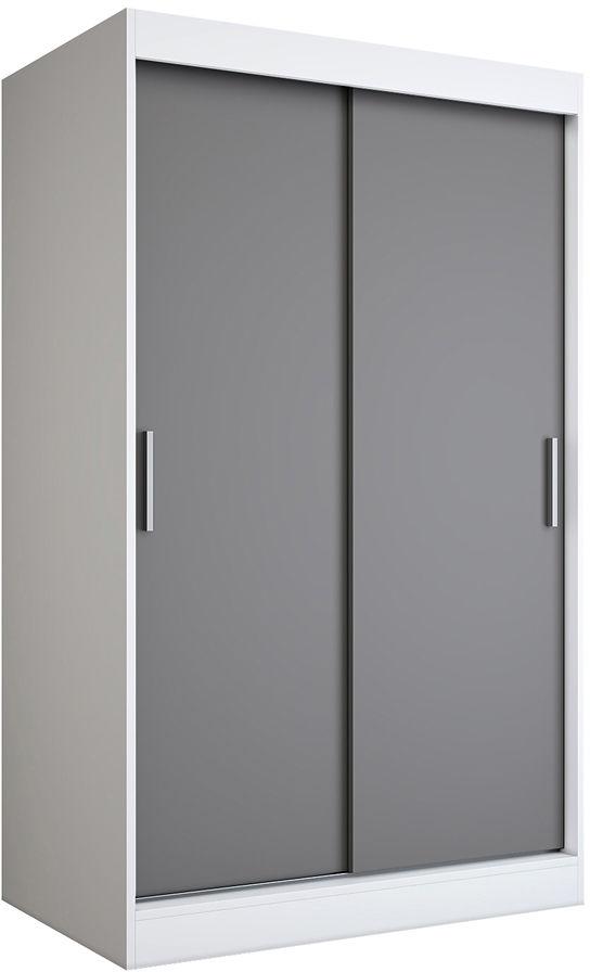 Szafa przesuwna biały + antracyt 120 cm - Corina 3X