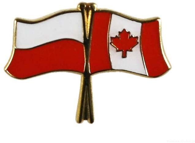 Flaga Polska - Kanada, przypinka