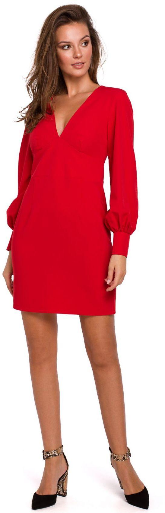 K027 Sukienka z bufiastymi rękawami - czerwona