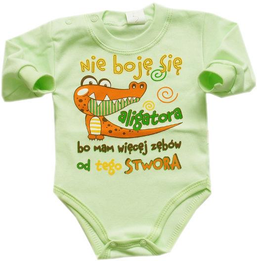 Body niemowl ce z napisem Nie boj si aligatora bo mam wi cej z b łw od tego stwora