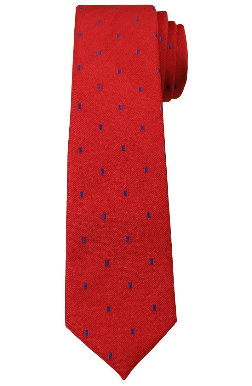Krwisto -Czerwony Elegancki Krawat -Angelo di Monti- 6 cm, Męski, Niebieskie Kwadraciki KRADM1491