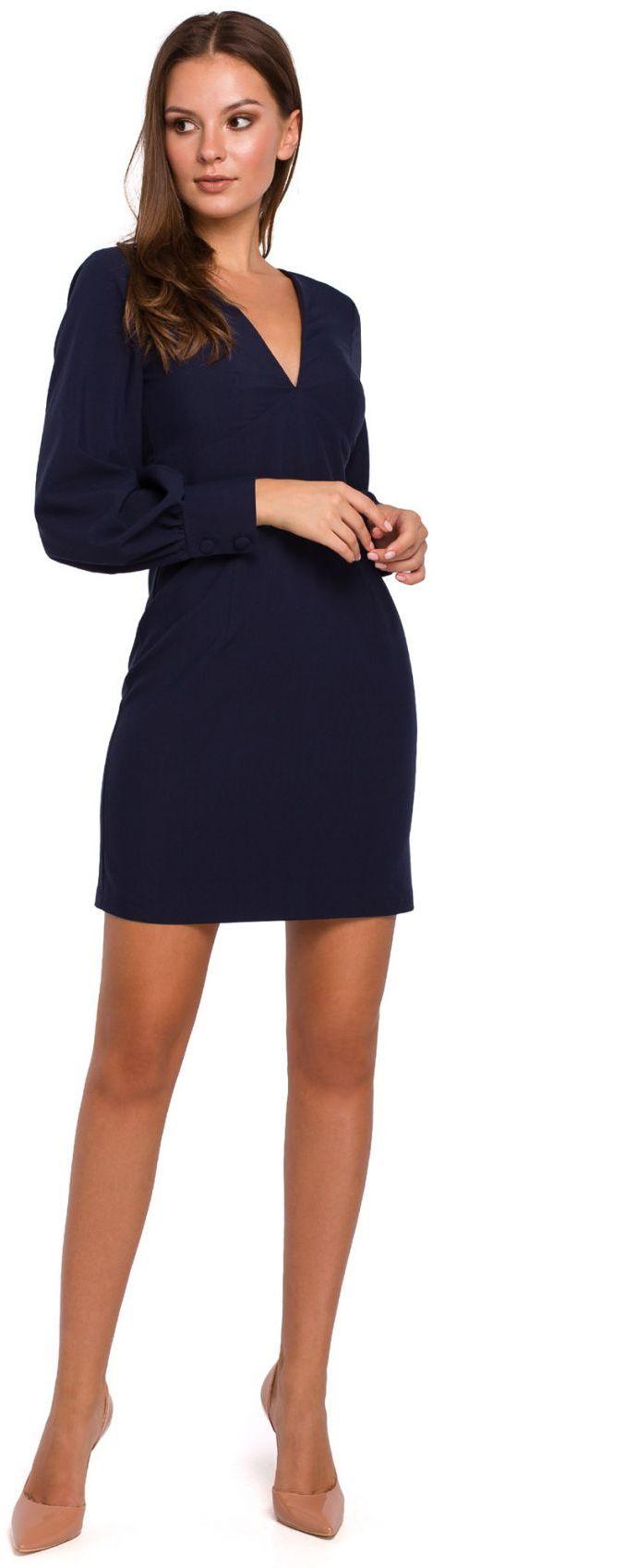 K027 Sukienka z bufiastymi rękawami - granat