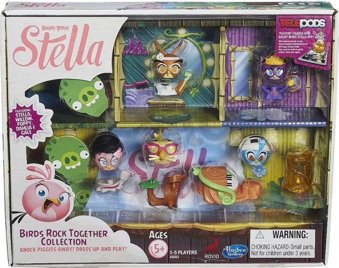 Hasbro Angry Birds Stella - Multipak Stella, Willow, Poppy, Dahlia i Gale z telepodem A8883