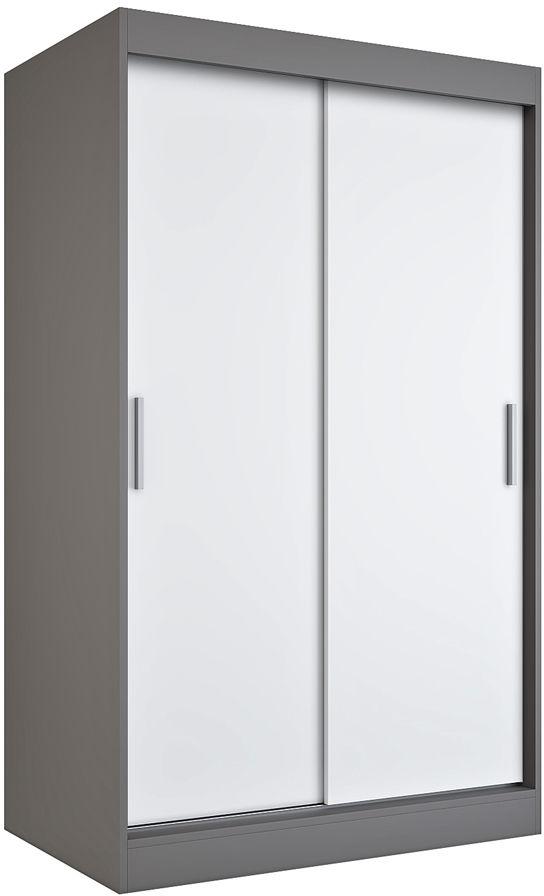 Szafa przesuwna antracyt + biały 120 cm - Corina 3X