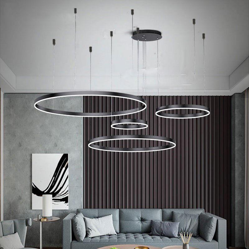 Duża lampa wisząca ring czarna 100cm 197Watt L132