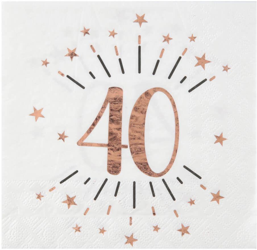 Serwetki na czterdzieste urodziny Sparkling różowe złoto - 33 cm - 10 szt.