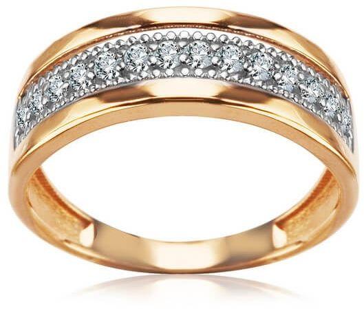 Staviori pierścionek. cyrkonia. żółte, białe złoto 0,585.