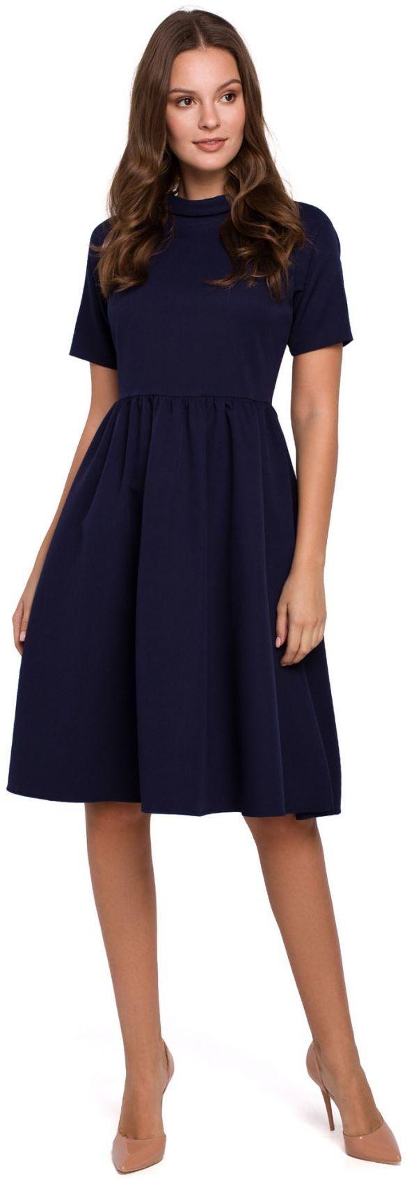 K028 Sukienka z wywiniętą stójką - atramentowa