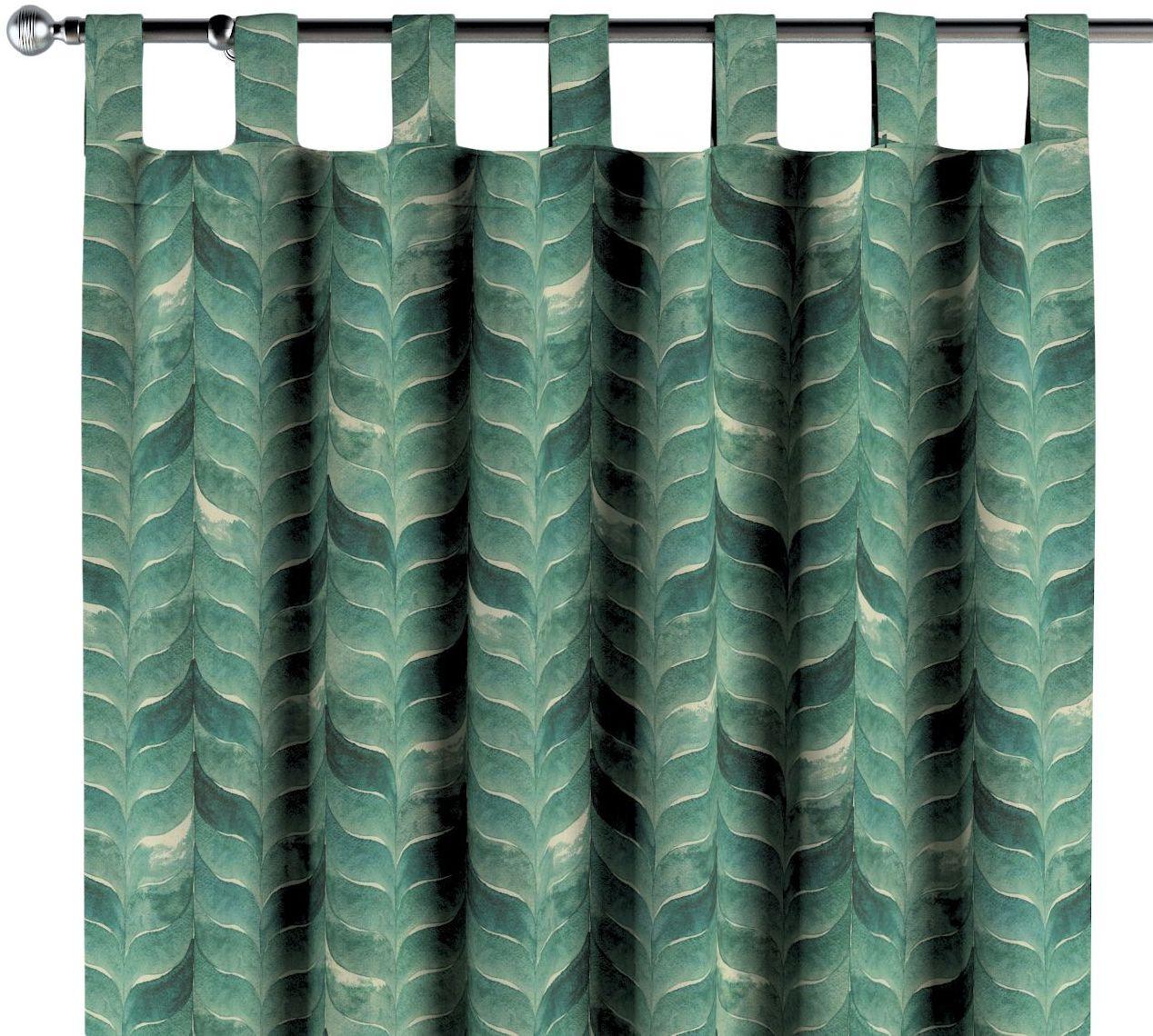 Zasłona na szelkach 1 szt., szmaragdowo-zielony wzór na lnianym tle, 1szt 130  260 cm, Abigail