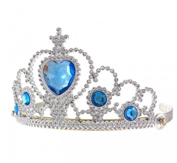 Tiara księżniczki z niebieskimi kamyczkami srebrna TNBK-NP