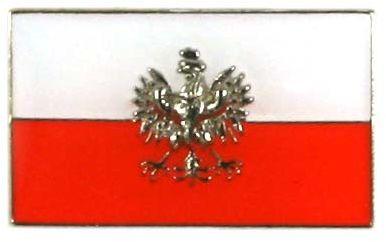 Flaga Polska prosta z orłem, przypinka
